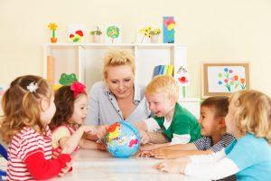 preschool kids with their teacher