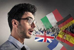 mans speaking different languages